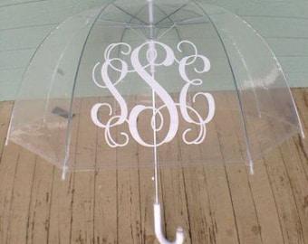 Monogrammed Adult Size Clear Umbrella