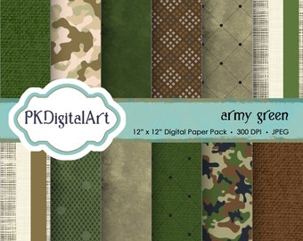 "Military Digital Paper - ""Army Green""  patterns backgrounds, projects, design, scrapbooking"