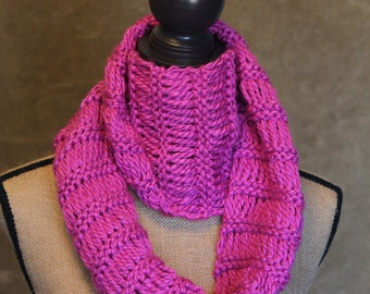 Half Price Sale....Hot Pink Chunky Scarf....Extra Long...Hand Knitted...Snoodie...Infinity Scarf....Ready to Ship