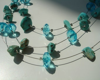 Aqua Turquoise Nuggets and Acrylic Glass Necklace - 3 Strands