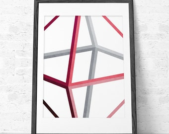 Himmeli 1. Geometric print Geometric art Geometric poster Octahedron Modern print Modern poster Modern home decor Geometric home decor. UK
