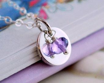 Custom Tween Necklace, Sterling Silver, Preteen, Genuine Semiprecious Gemstone, Birthstone Jewelry
