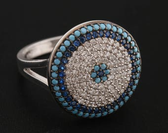 Turkish Nazar Evil Eye Handmade 925 Sterling Silver Round Cut Turquoise Sapphire White Topaz Rhodium Band Ring for Gift for Size 8