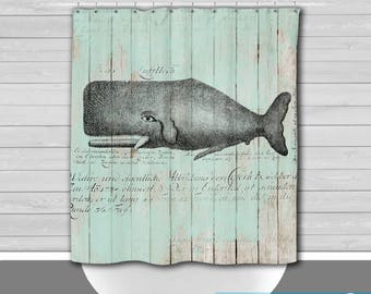 Shower Curtain And More   Vintage Whale Wood Look Nautical Decor | See  Dropdown For Pricing