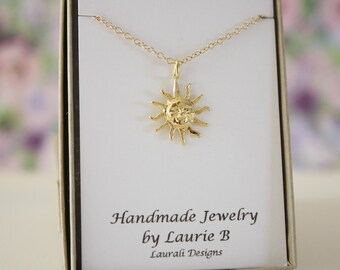 Sun Charm Necklace, Friendship Gift, Gold, Bestie Gift, Gold Sun Charm, Thank you card, Yellow Sun