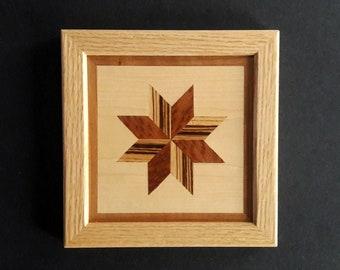 Wood Wall Art Framed LeMoyne Star Quilt Block Pattern Redwood Burl and Zebrawood  Red Oak