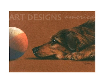 ACEO Dog Eying Ball, Archival Art Print, Dog Print, Dog Pastel Drawing, SFA Small Format Art, Artist Trading Card, Dog Painting, ADA-P318