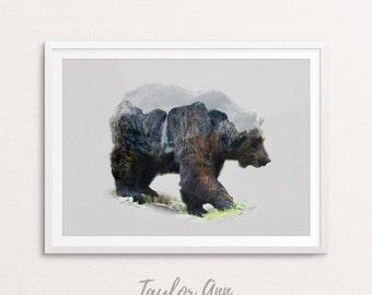 Bear Print, Printable Poster, Bear Art, Digital Printable Art, Digital Download, Double Exposure Bear, Bear Wall Art
