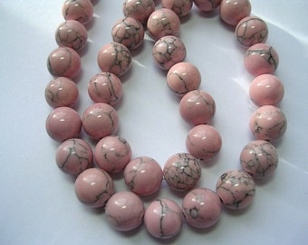 10mm Pink Beads Polished Synthetic Howlite Pink and Grey Stone Beads 16 inch Strand 40 Beads 10mm Pink Stone Beads Pink Marbled Beads