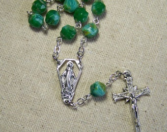 handmade Catholic pocket rosary tenner with green and blue baroque glass beads in silver