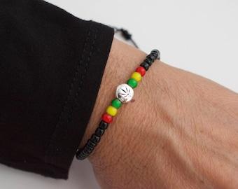 Rasta  colors bracelet - cannabis bracelet - reggae  - ganja bracelet  - rastafarian - jamaican - rasta girl - rasta man - rasta gifts