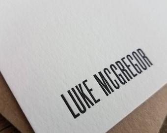 Custom Letterpress Stationery   Personalized Notecards