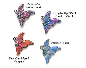 Painted Butterfly Pendant, Handmade Butterfly Pendant, Colorful Butterfly Jewelry, Dry Gulch, Velvet Papilio, 1 Pendant, You Choose Color