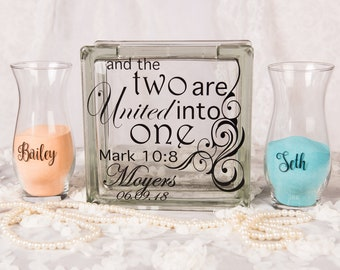 Personalized Sand Ceremony Set - Blended family unity sand ceremony set - Unity Ceremony - Bible verse - two shall become one - Mark 10