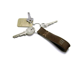 Monogrammed Leather Chocolate Brown Key fob, personalized