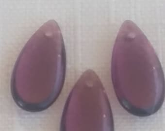 1950s AMETHYST purple teardrop Vintage glass beads German 10x16 (3)
