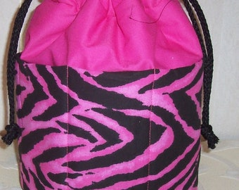 Pink and Black Zebra Striped  Bingo Tote Bag
