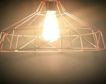 Copper Geometric Pendant Light  (large)