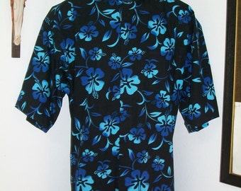 CAMP Clerical shirt varied turquoise hibiscus on black All Cotton Size of choice. Made to order. Tab or fullband collar ready Untucked style