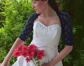 Navy Blue  Angora Bridal Bolero Shrug, Wedding Bolero Shrug, Openwork Bolero Shrug