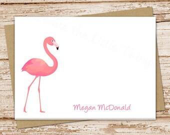 personalized flamingo note cards . folded notecards . pink flamingo . personalized stationery . tropical bird stationary . set of 8