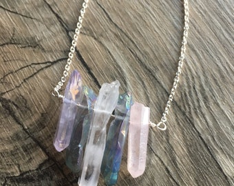 Unicorn Quartz Crystal Necklace / Pendant Necklace / Crystal Choker / Crystal Pendant Necklace / Raw Quartz / Five Crystal Necklace
