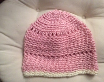 Rose and cream acrylic beanie hat