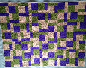 """Sale was 125.00 now 99.00   Coral, green and purple Lap quilt, wall hanging, 51""""x64"""""""