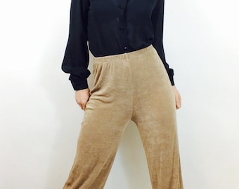 Vintage 90s minimalist pants vintage slinky pants vintage wide leg pants size small tan pants vintage high waisted pants small capri pants s