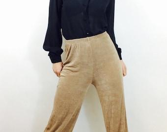 Vintage 90s minimalist pants vintage slinky pants vintage wide leg pants size small tan pants vintage high waisted pants small capri pants s