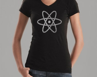 Women's V-neck T-shirt - Created out of all of the elements on the periodic table Atom