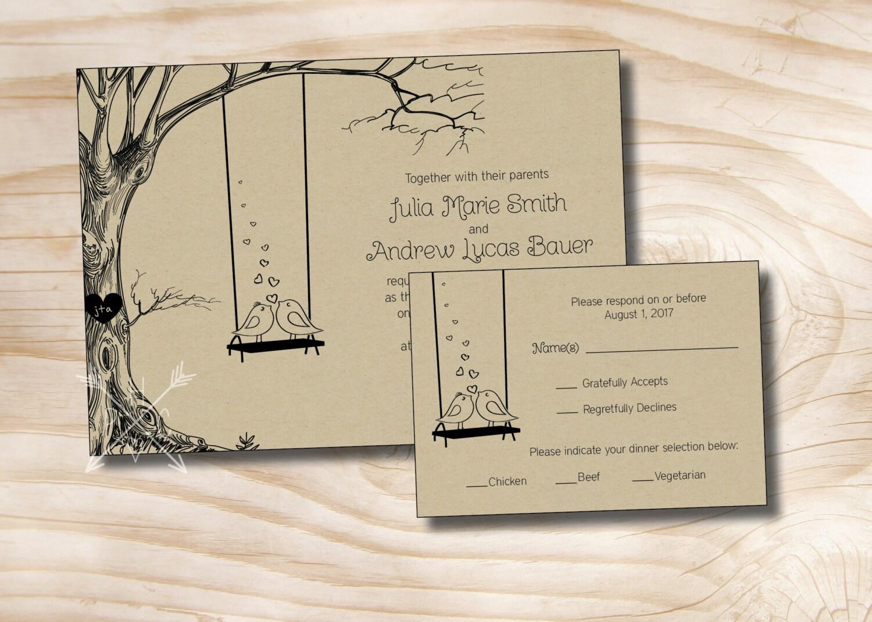 VINTAGE boom Swing tortelduifjes Kraft papier bruiloft uitnodiging/antwoord kaart - 100 professioneel afgedrukt uitnodigingen & antwoord kaarten  Deze aanbiedin