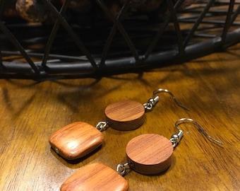 Brown Wooden Bead Earrings, Wooden Earrings, Wood Earrings, Dangle Drop Earrings, Handmade Earrings