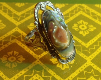 Sterling Silver Etched Elongated Oval Blister Pearl Ring Size 7 - 8