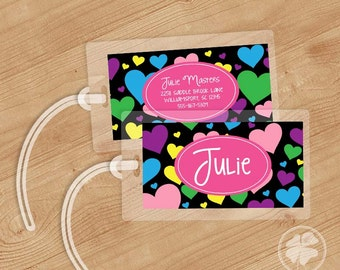 Hearts -   Luggage Tag, Bag Tag, Backpack Tag, ID Tags, Personalized, Custom