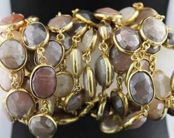 Mystic Moonstone Mixed Stone Oval Shape Bezel Chain /Grey/Brown/ Pink Moonstone Bezel Chain Component, 13x11 mm , (BZC-MNXX-05)