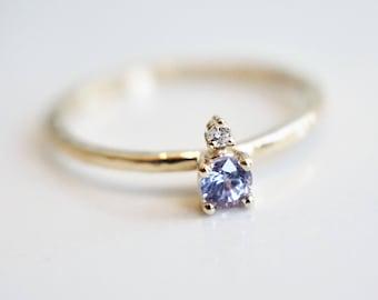 14K Sparkling light blue Ceylon SAPPHIRE Diamond Ring/3 mm Ceylon SAPPHIRE/round Cut/SAPPHIRE ring/two-stone/Solid Gold/September Birthstone