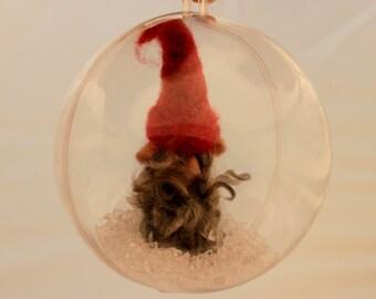 Needle felted Gnome Ornament Gnome Snow Globe, Gnome ornie 4 inch #   1990