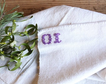 D 100: handloomed linen antique charming TOWEL napkin, LAUNDERED,리넨, decoration; tablerunner