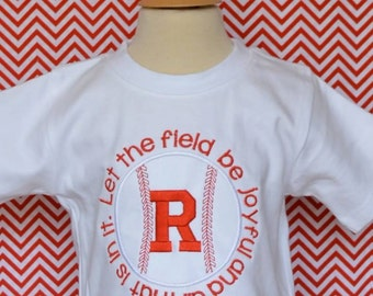 Personalized Baseball Softball Let the Field be Joyful Psalm 96:12 Applique Shirt or Onesie Girl Boy