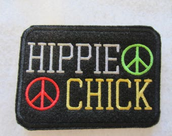 Embroidered Iron On Patch, Hippie Chick Iron On Patch, Hippie Chick, Hippie, Retro Patch, 60's Retro Patch, Peace Patch. HIppie Patch