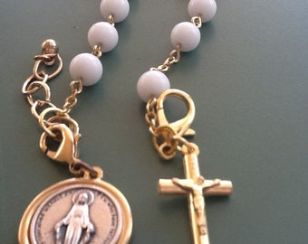 White and gold Rosary Bracelet
