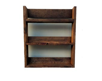 Rustic Spice Rack | Open Top | 3 Shelves | 41cm Tall | Dark Oak Finish | 25.5cm - 57cm Wide | Spice Jars, Nail Polish, Aromatherapy Display