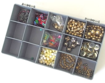 6 - 8mm Plastic / Acrylic Faceted Round, Assorted Gold and Silver Beads With Plastic Craft Storage Organizer