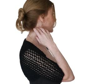 Wool Shrug. Lace Shrug. Black Bolero. Black Shrug. Black Lace Shrug. Merino Wool. Lace Bolero. Knitted Lace Bolero. Mesh Lace  S