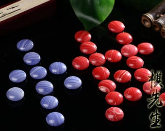 Blue and red stirp stone beads for go game weiqi chinese chess 185x2pcs free shipping