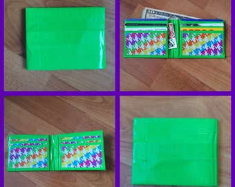 Green and Rainbow Houndstooth Duct Tape Wallet