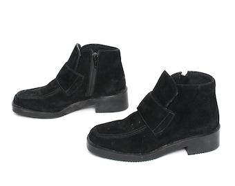 size 5.5 PLATFORM black vegan suede 80s 90s CHUNKY GRUNGE loafers high heel boots