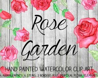 Instant Download - Hand Painted Watercolor Pink Red Roses Flowers Floral Arrangements Borders Clip Art Set - Item# 109 Rose Garden