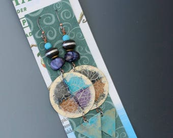 Bottle cap earrings. Recycled, upcycled bottle caps, brass. Long earrings. Reuse. Recycle. Upcycle.